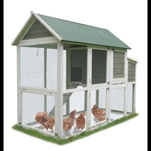 Poulailler Plymouth pour 6 poules blanc et vert 188,5 x 90 x 145cm 404476