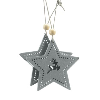 Étoile motif cerf à suspendre en bois gris