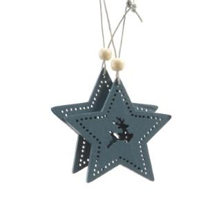 Étoile motif cerf à suspendre en bois bleu