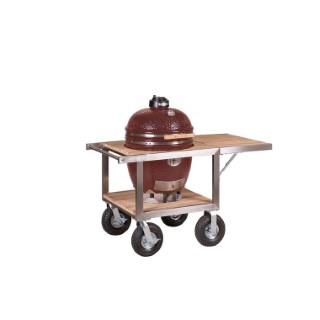 Barbecue fumoir monolith classic rouge avec buggy et rangement 407444