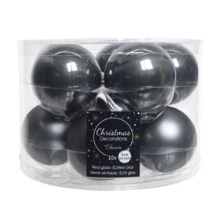 Boules en verre émail Stone Grey Ø 6 cm en boite de 10