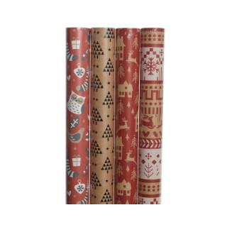papier cadeau écologique rouge - 70x200cm 407894