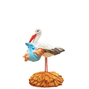 Santon cigogne au bébé bleu en argile H 7 cm 409344