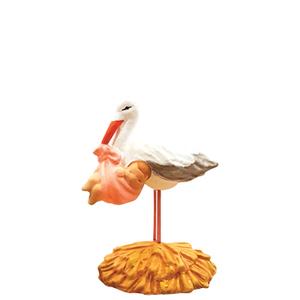 Santon cigogne au bébé rose en argile H 7 cm 409345