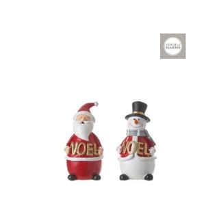 Père Noël ou Bonhomme de neige Rouge et blanc 6x6x12 cm 409551