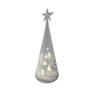 Cimier en verre avec décor de sapin et neige 22,5 cm 409710