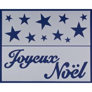 2 pochoirs bleus Joyeux Noël et étoiles - 16x40 cm 409724