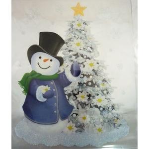 Etiquette bonhomme de neige et sapin pailleté - 28,5x34,5 cm 409727
