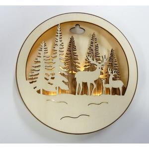 Boîte ronde en bois naturel LED avec une famille de cerfs Ø 14,3 cm 409750