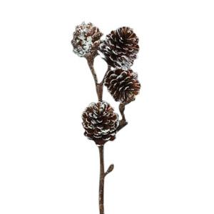 Branche décorée de 4 pommes de pin marron H 52 cm 409798