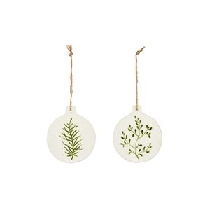 Ornement à suspendre boule plate imitation porcelaine blanc motif vert