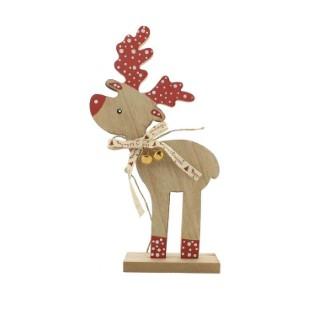 Sujet décoratif de Noël Renne en bois naturel et rouge H 28 cm 410324