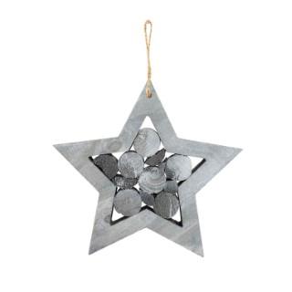 Étoile à suspendre en bois gris avec rondins– 20x2x2 cm 410390