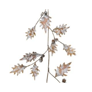 Guirlande de feuilles en polyester avec neige