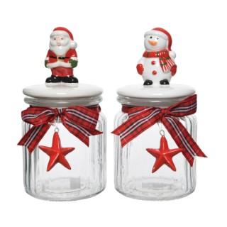 Pots à cookies en verre rouge et blanc – 11x18 cm 410630