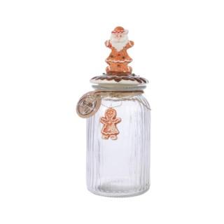 Pot de stockage en verre avec Père Noël H 28 cm x Ø 11 cm 410669