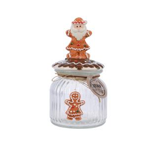 Pot de stockage en verre avec Père Noël H 20 cm x Ø 11 cm 410670