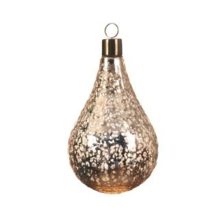 Boule de Noël énorme en verre Forme larme Laiton Or 28 cm