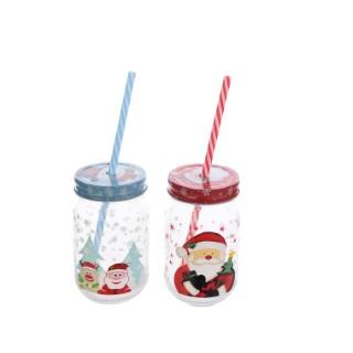 Pots pour boissons avec couvercle et paille - 7.8x13.5 cm 410711