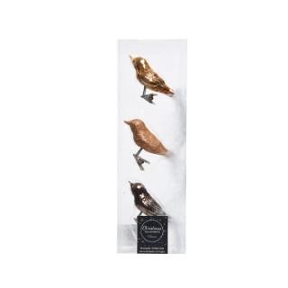 Oiseaux en verre mix marron - 3x8x3.5 cm 410792