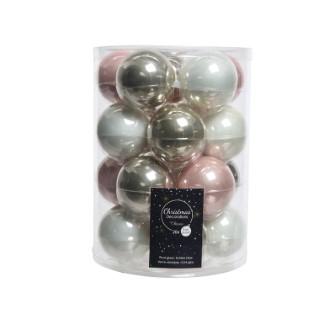 Boules en verre mix rose blanc argent Ø 6 cm en boite de 20 410795