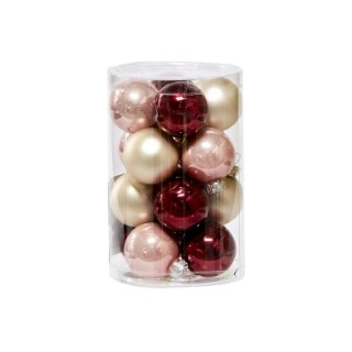 Boules en verre Mix rouge et rose Ø 6 cm en boite de 20 410806