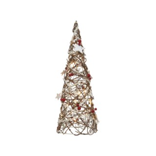Cône en rotin décoratif LED avec éclairage blanc chaud 14 x 14 x 40 cm
