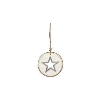 Disque en bois orné d'une étoile Ø 8,3 cm