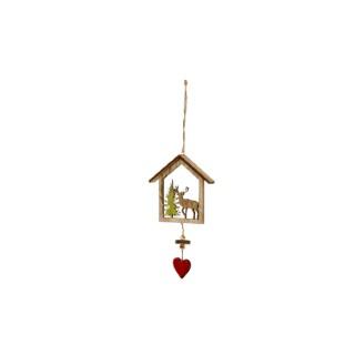 Maison avec renne en bois 23.5 x 12 x 2.5 cm