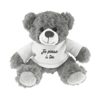 Ours gris t-shirt blanc « Je pense à toi » – 15 cm de haut 411608