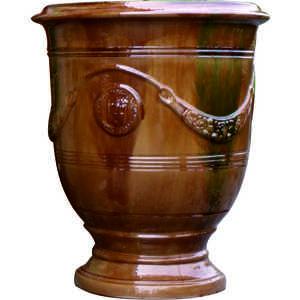 Vase Anduze tradition flammé en terre cuite émaillée H 68 x Ø 53 cm