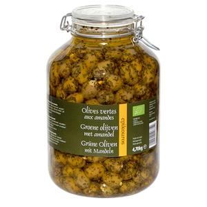 Olives vertes farcies aux amandes bio - Prix au kg 413405
