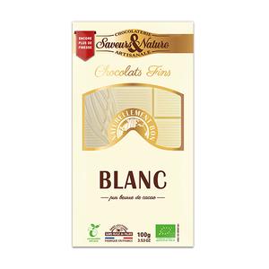 Tablette de chocolat blanc bio en étui de 100 g