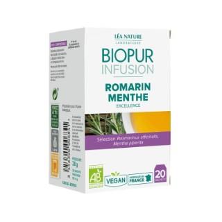 Infusion au romarin et à la menthe poivrée bio en boite de 20 sachets 413623