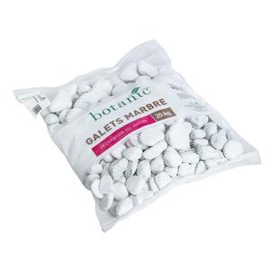Galets de marbre blanc de Carrare calibre 40 à 60 mm en sac de 20 kg 416019