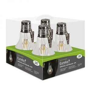 Pack de 4 ampoules solaires Eureka Retro à LED 1 lumen 10x10x17,6 cm 416188