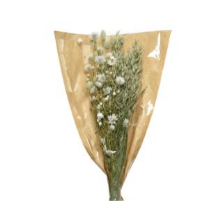 Bouquet de fleurs séchées naturelles vert et blanc