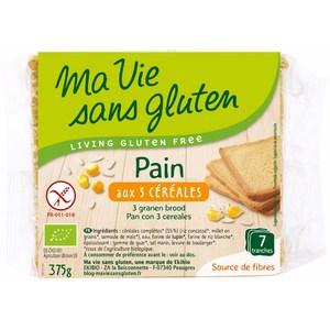 Pain bio aux 3 céréales 375 g MA VIE SANS GLUTEN