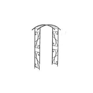 Arche double de jardin avec décor volute vert olive