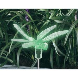 Décoration solaire à planter libellule multicolore