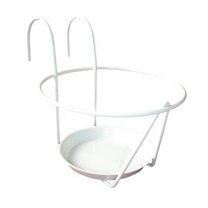Porte pot soucoupe avec crochet en métal blanc Ø 16/18 cm 48179