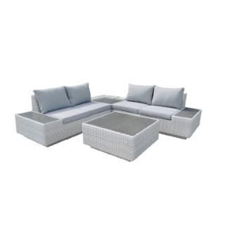 Salon bas Capella gris en aluminium, résine tressée et fibre-ciment 487268