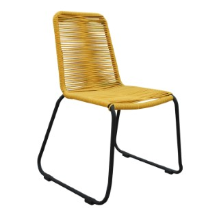 Chaise Padro jaune en aluminium et polypropylène 60 x 60 x 90 cm 487285