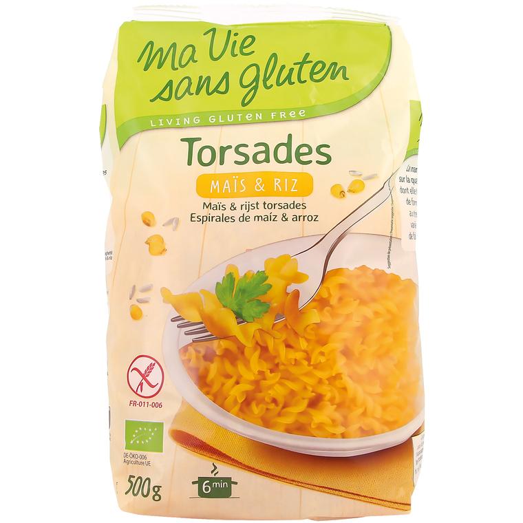 Torsades mais & riz, sans gluten 500 g MA VIE SANS GLUTEN