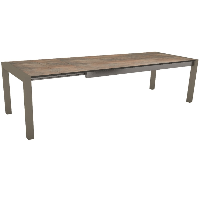 Table extensible Stern en alu & HPL taupe ferro 214/254/294 x 100 cm 400515