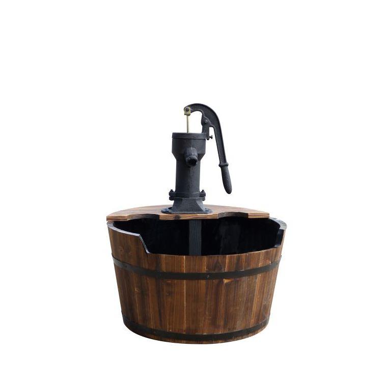 Fontaine tonneau newcastle en bois avec pompe à bras Ø 60 cm x H75 cm 402520