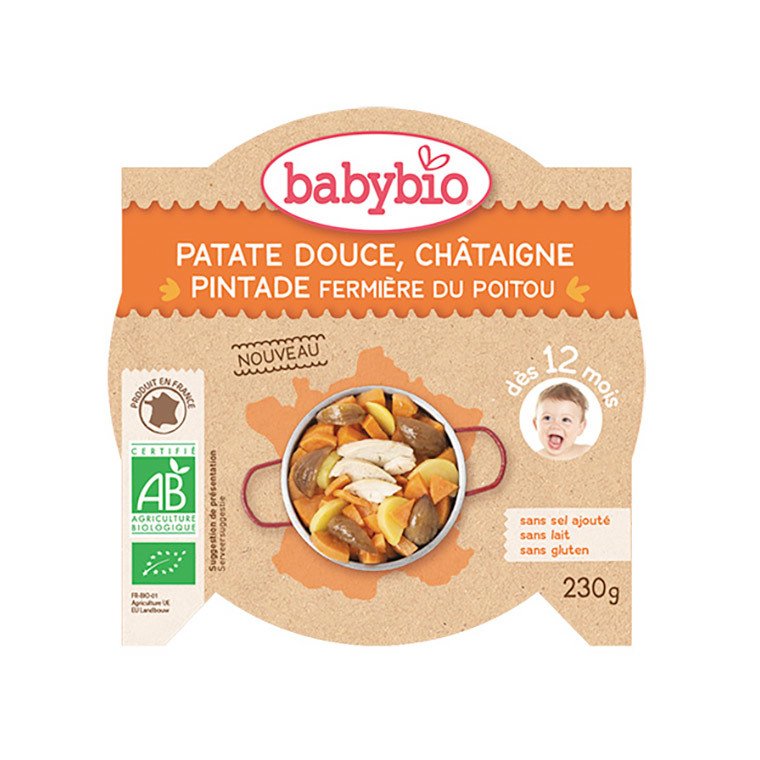 Assiette de patate douce châtaigne et pintade Babybio 230 g 406815