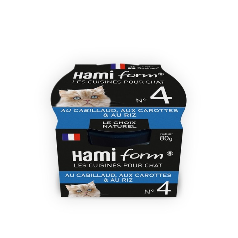 Boîte Chat Hamiform 80g, cabillaud, carottes et riz 407746