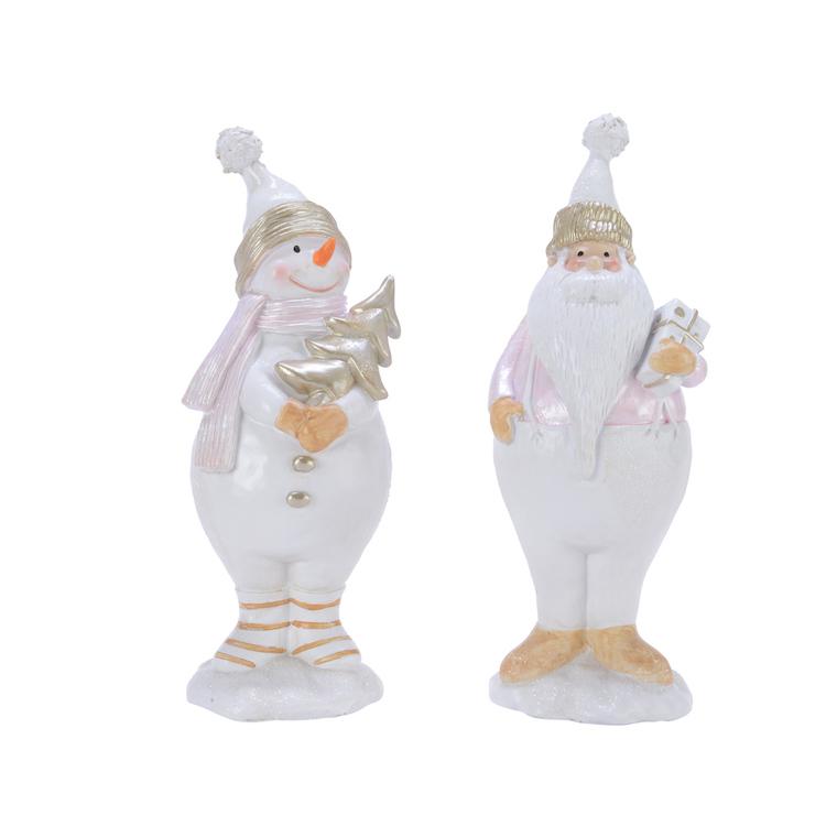 Figurine de Noël Bonhomme de neige ou Père Noël blanc et argent 410636