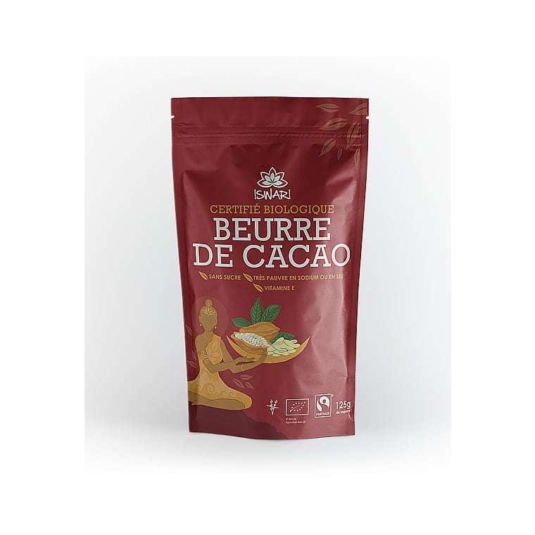 Beurre de cacao bio en paquet rouge de 125 g 413701